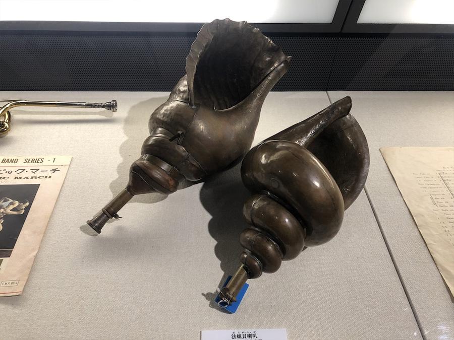 実際に使用されていた法螺貝喇叭 ポリスミュージアム